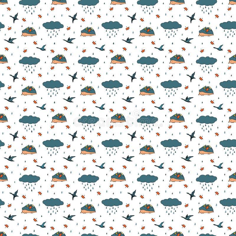 Jesień bezszwowy wzór z deszczem, chmura, ptaki, jeż kolorowy nakre?lenie r?wnie? zwr?ci? corel ilustracji wektora ilustracji