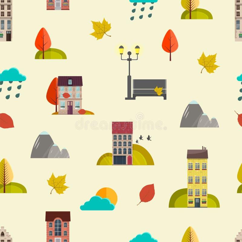 Jesień Bezszwowy wzór z domami i jesień liśćmi Mieszkanie styl wektor ilustracja wektor
