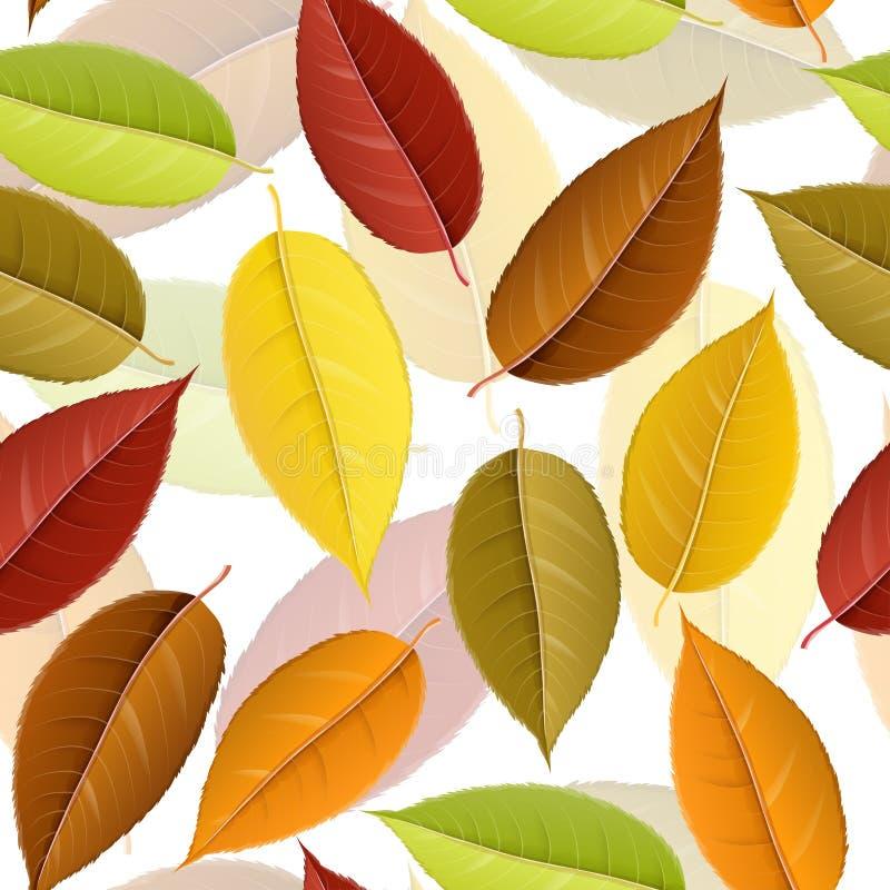 Jesień bezszwowy wzór z kolorowym liściem royalty ilustracja