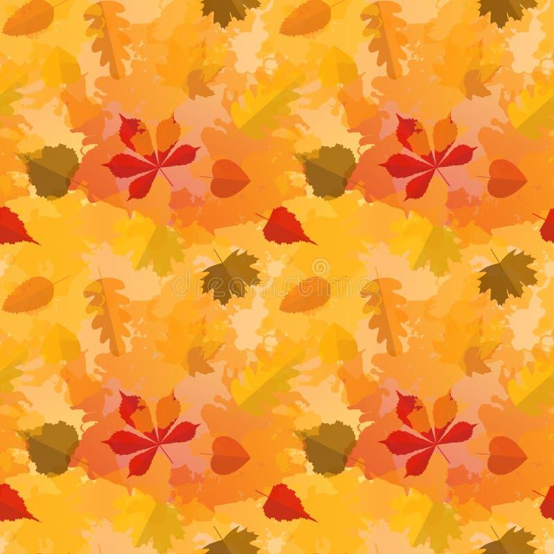 Jesień bezszwowy wzór z kolorowymi liśćmi w mieszkanie stylu i akwareli tle ilustracja wektor