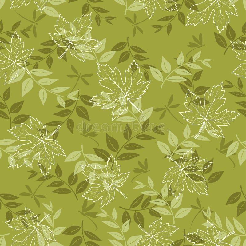 Jesień bezszwowy wzór z liśćmi klonowymi i dragonfly na pastelu zieleniejemy tło, dla mody, tkaniny, tkaniny, druku lub tapety, royalty ilustracja