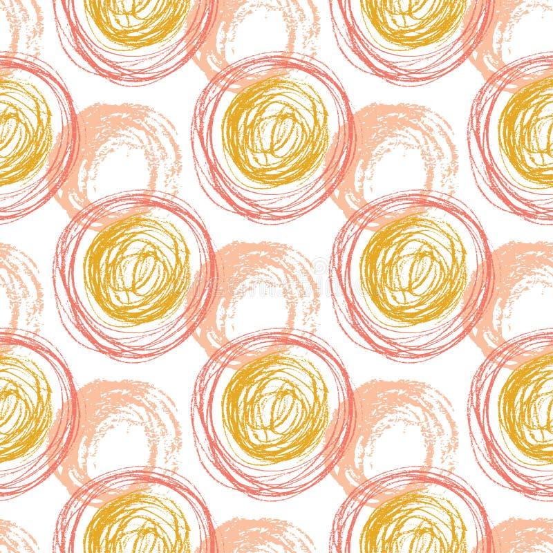 Jesień bezszwowy wzór z pomarańczowymi okrąg teksturami Ręka rysujący moda modnisia tło Wektor dla sieci, druk, tkanina, tkanina royalty ilustracja