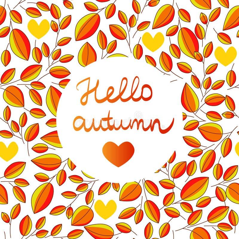 Jesień bezszwowy wzór z ręka pisać literowanie jesieni inside CZEŚĆ opuszcza tło ilustracja wektor