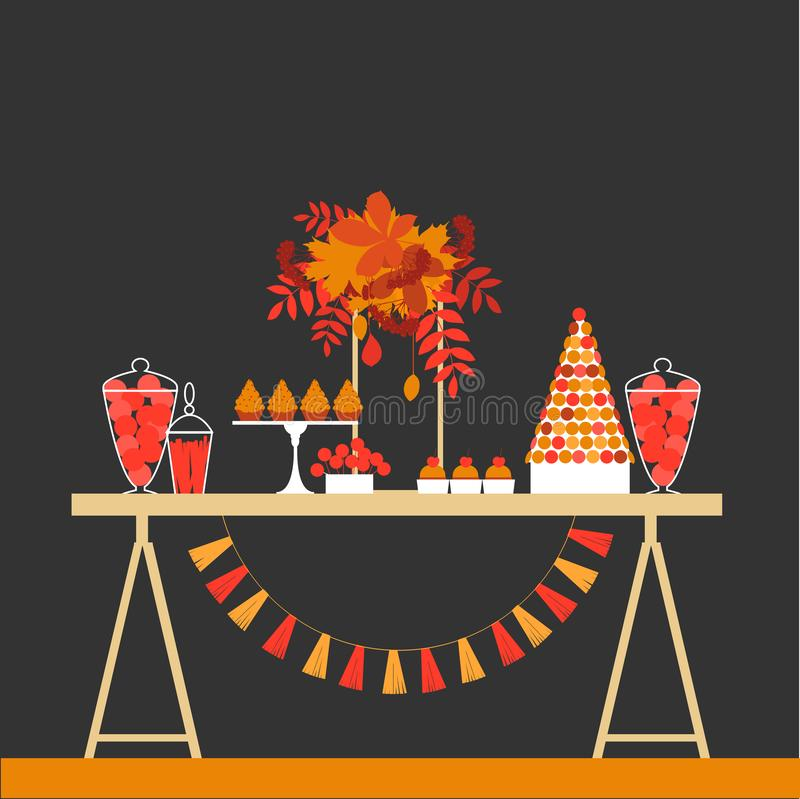 Jesień cukierki stół Ślubny cukierku bufet ilustracji