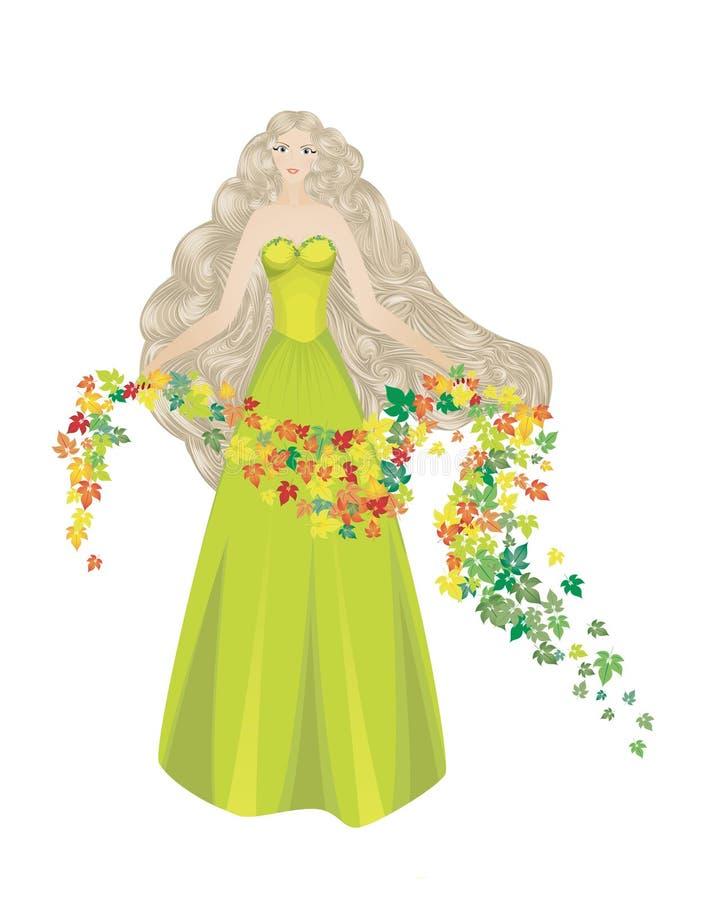 jesień czarodziejka royalty ilustracja
