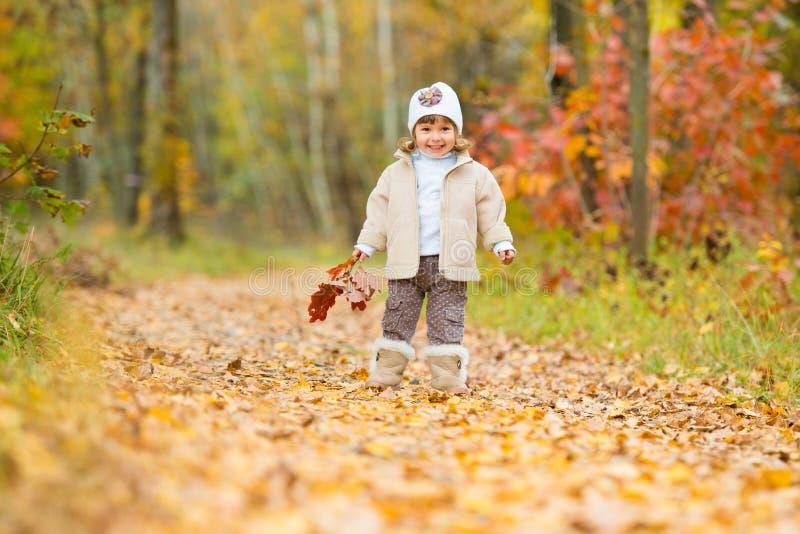 Jesień czas, szczęśliwy mały dziecko dziewczyna chodzi wzdłuż ścieżki z bukietem jesień liście obraz royalty free