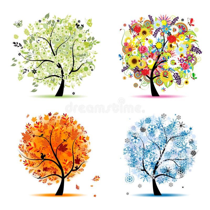 jesień cztery sezonów wiosna lato drzewa zima royalty ilustracja