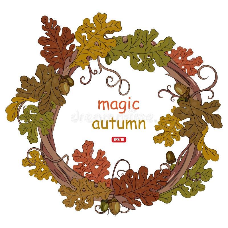 Jesień dębu liście Wianek jesienny dąb opuszcza z acorns royalty ilustracja