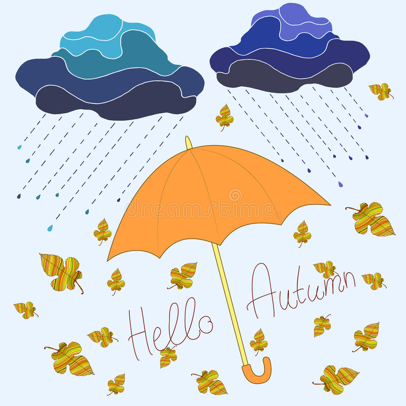 Jesień, dekoracyjny piękny tło, kreskówka styl, parasol ilustracja wektor