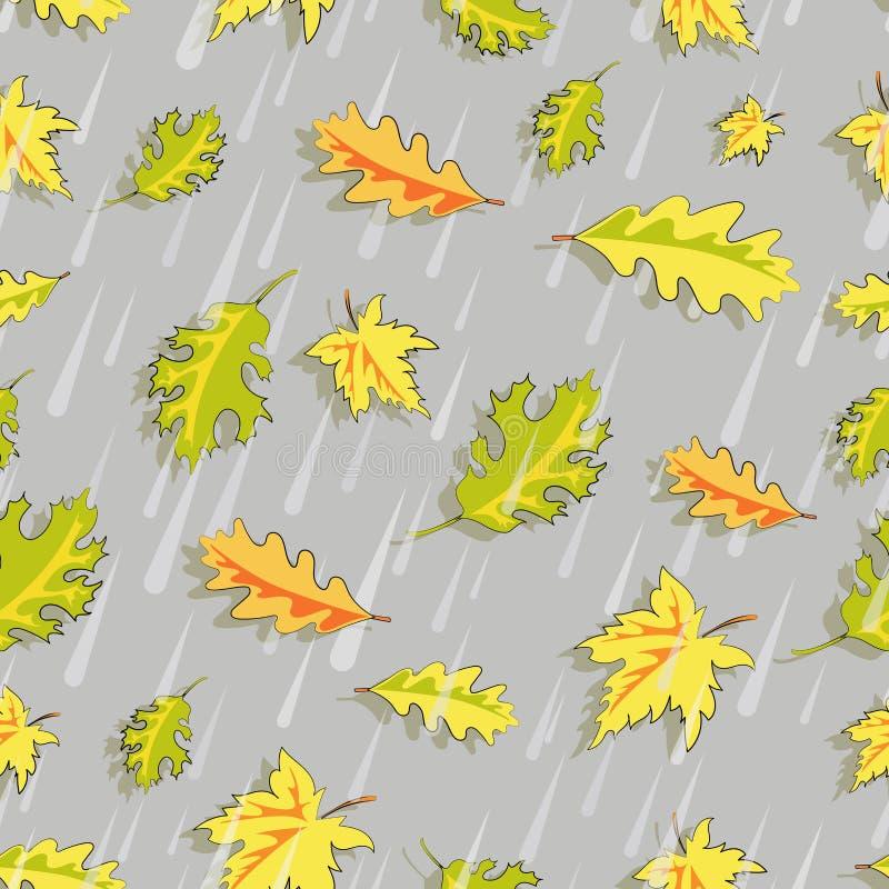 Jesień deszcz objętych liście ilustracja wektor