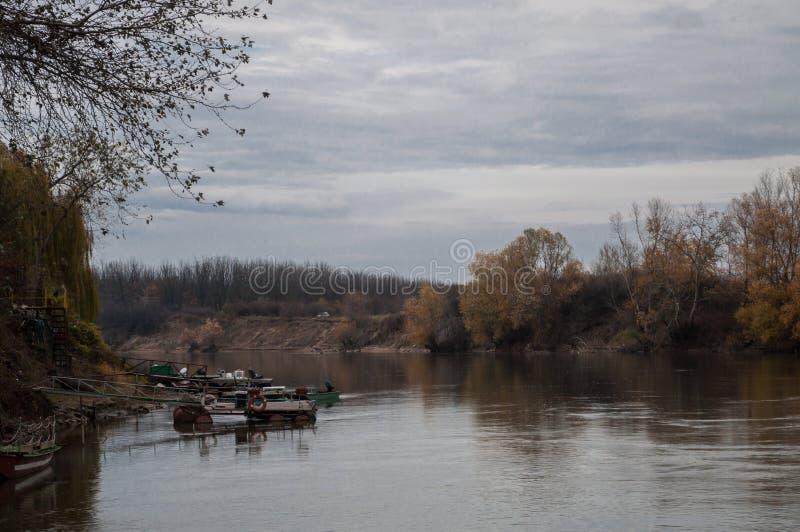 Jesień dnia widok rzeka i ponton na lewej stronie zdjęcia royalty free