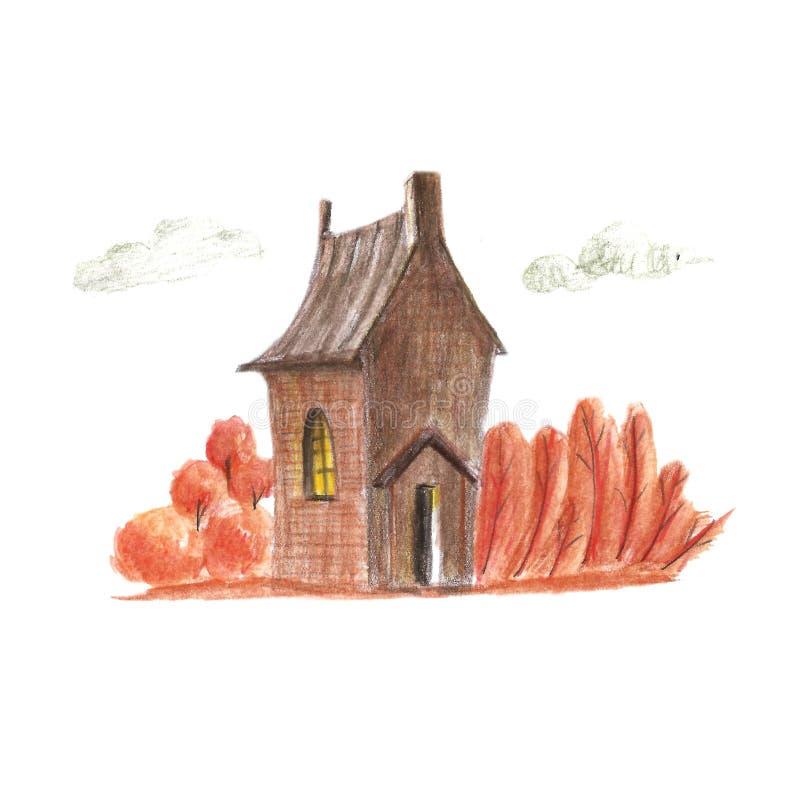 Jesień dom royalty ilustracja