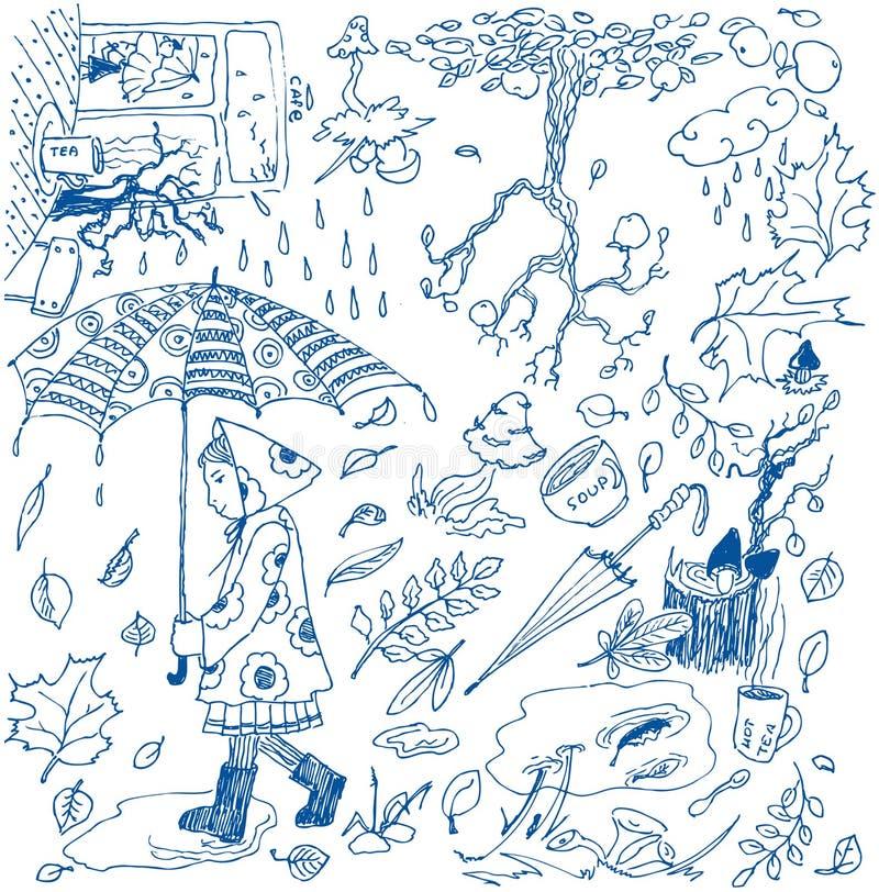jesień doodles royalty ilustracja