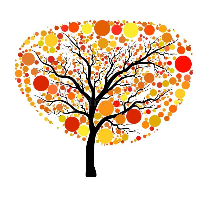 Jesień drzewny wektor odizolowywający na białym tle royalty ilustracja