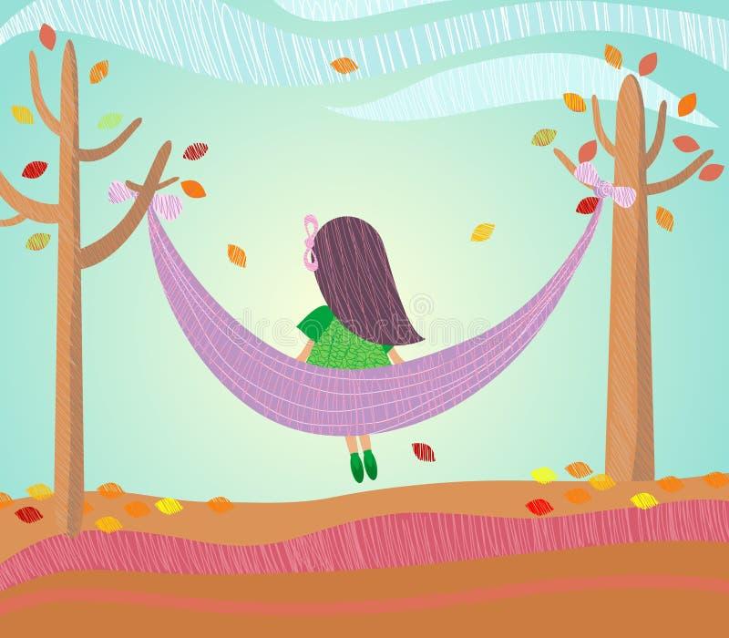 jesień dziewczyna ilustracja wektor