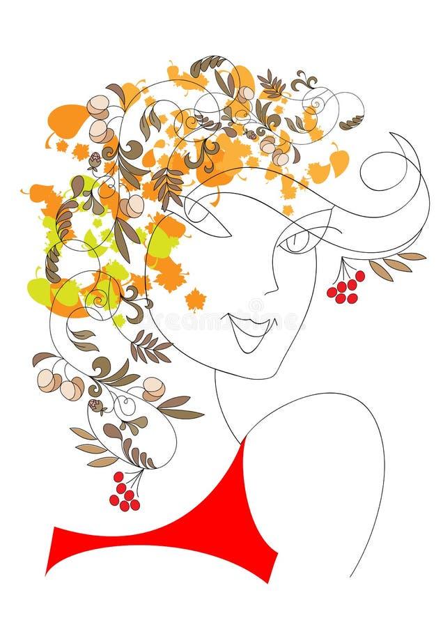 jesień dziewczyna ilustracji