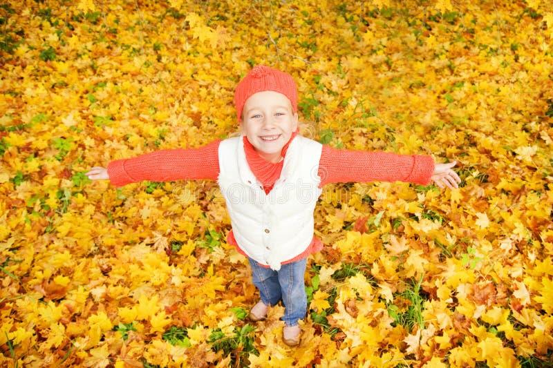 jesień dziewczyna opuszczać trochę obraz royalty free