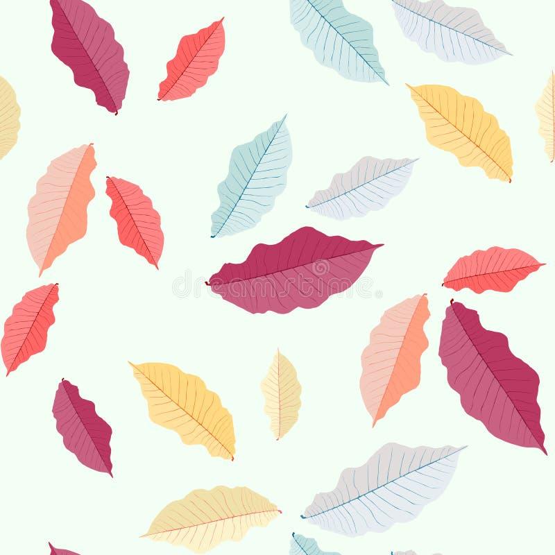 8 jesień eps kartoteka zawierać liść wzoru wektor Kolorowi liście bezszwowy ornament Sezonu jesiennego temat ilustracji