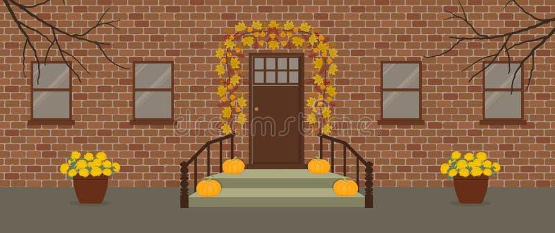 Jesień gankowy wystrój z girlandą jesień liście ilustracja wektor