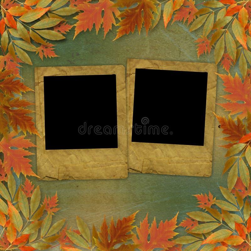 jesień jaskrawy ramowy liść papier royalty ilustracja