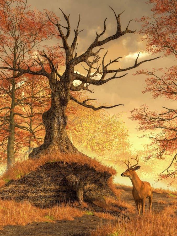 Jesień jeleń ilustracja wektor