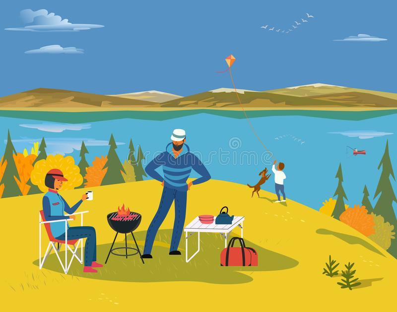 Jesień jeziora krajobraz ilustracji