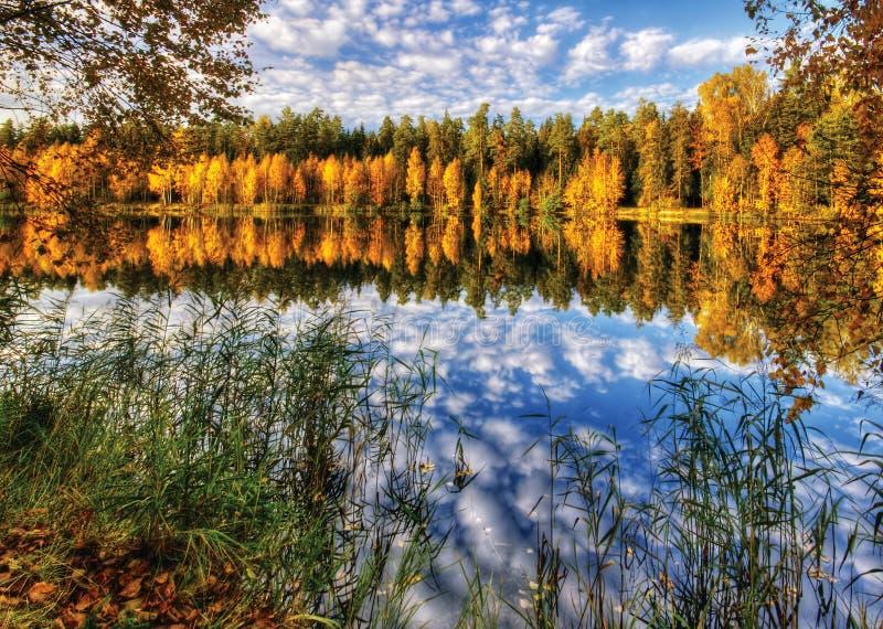 jesień jeziora lustro zdjęcie stock