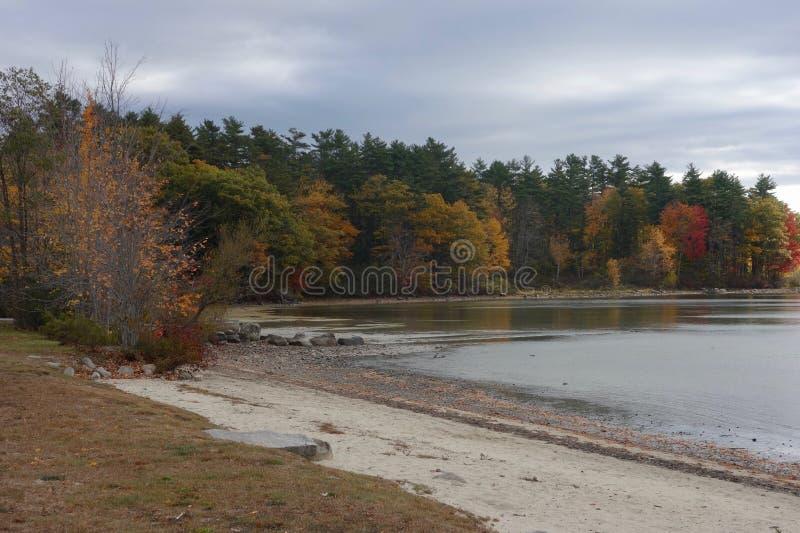 Jesień jezioro w Raymond, Maine z piaskowatą plażą, niebieskie nieba obrazy royalty free
