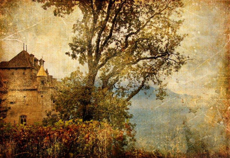 jesień kasztel ilustracji