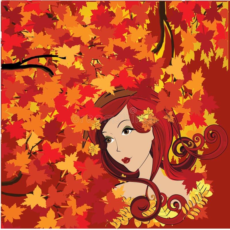 jesień kobieta ilustracja wektor