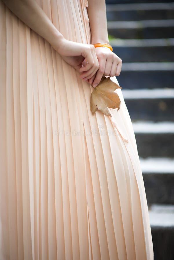 Jesień kolor w młodej dziewczyny ręce zdjęcia stock