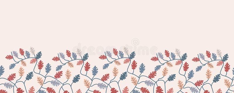 Jesień kolorowi liście w bezszwowej horyzontalnej granicie Wektorowi elementy royalty ilustracja