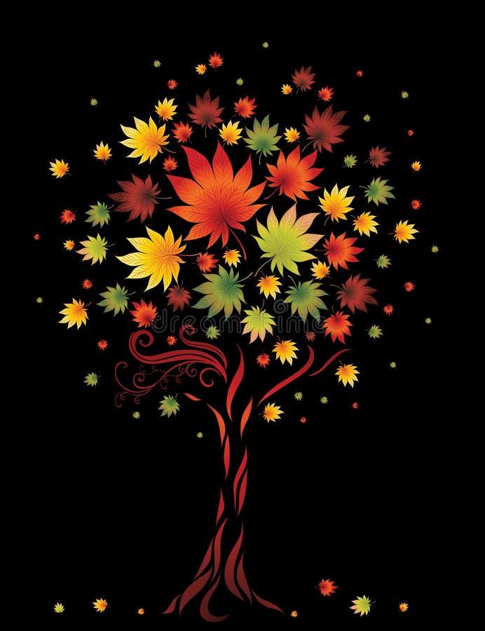 jesień kolorowy liść dziękczynienia drzewo ilustracja wektor