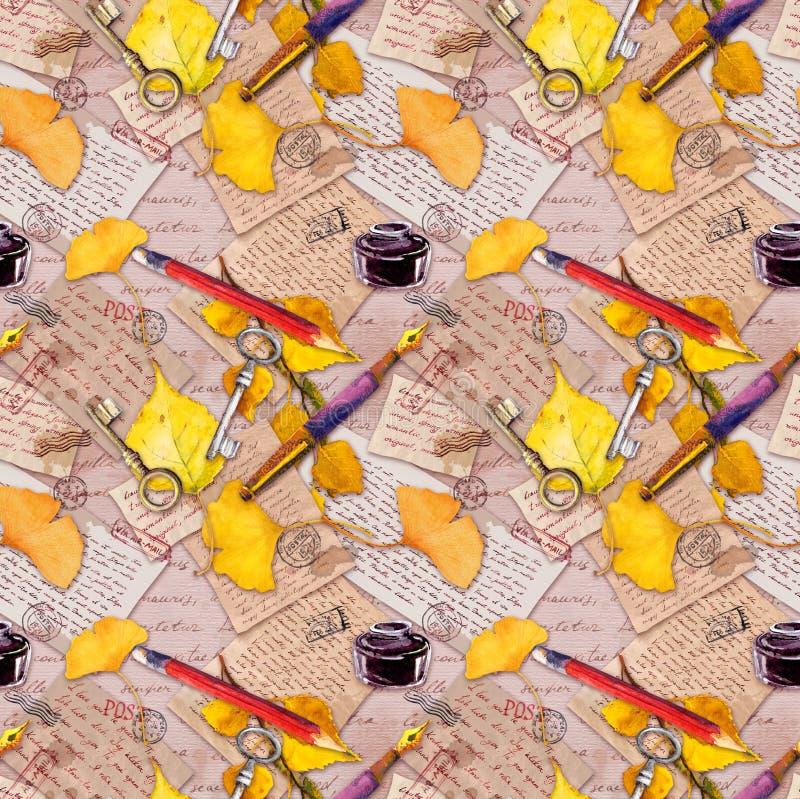 Jesień koloru żółtego liście, starzejący się papier, listy, ręka pisać tekst i rocznika pióro, ołówek bezszwowy wzoru Akwarela dl obraz stock