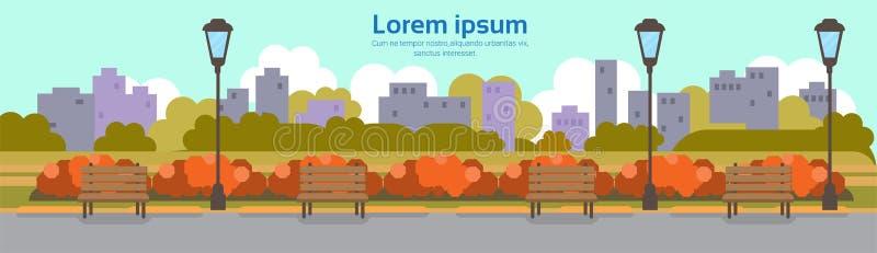 Jesień koloru żółtego parka outdoors latarni ulicznej pejzażu miejskiego miastowego pojęcia kopii przestrzeni sztandaru horyzonta royalty ilustracja