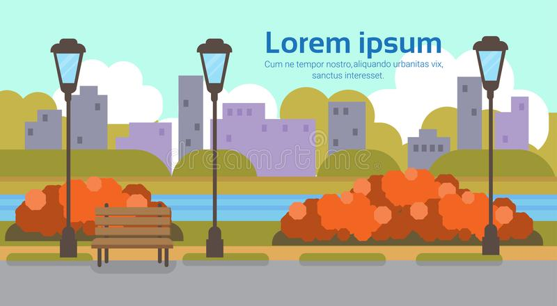 Jesień koloru żółtego parka outdoors latarni ulicznej pejzażu miejskiego miastowego rzecznego pojęcia kopii przestrzeni horyzonta ilustracji
