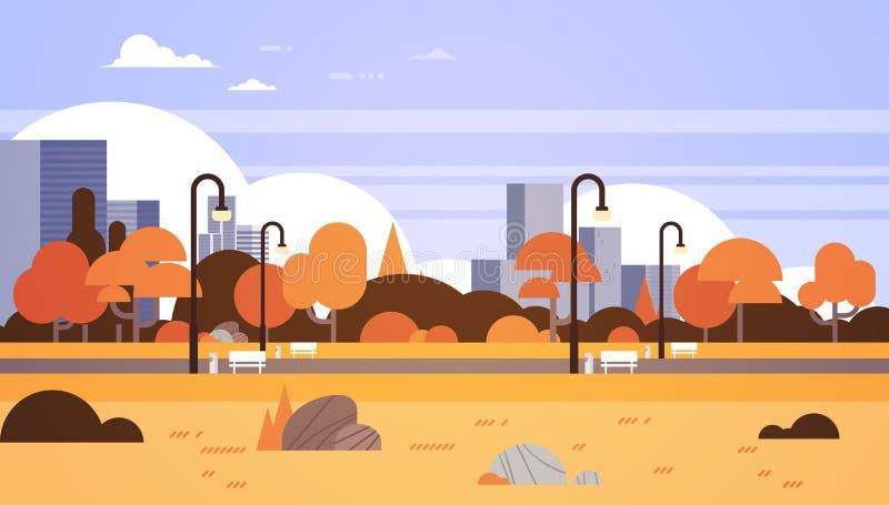 Jesień koloru żółtego parka outdoors miasta budynków latarni ulicznych pejzażu miejskiego miastowego pojęcia horyzontalny mieszka royalty ilustracja