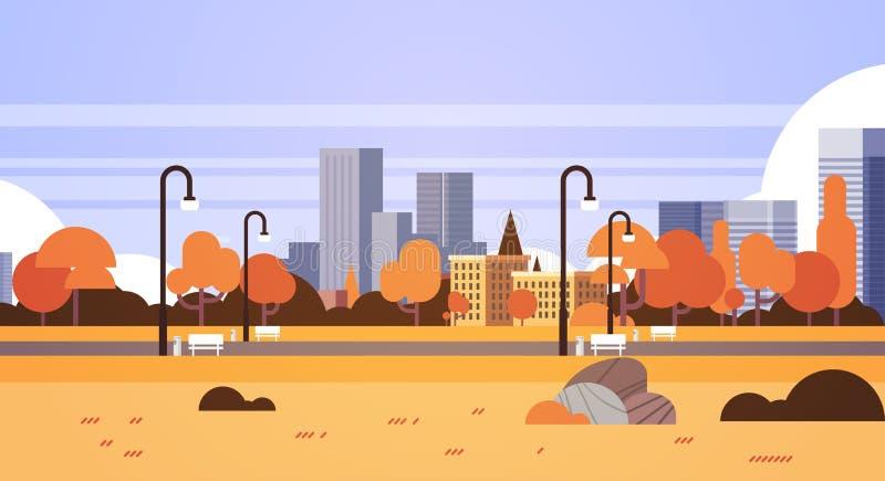 Jesień koloru żółtego parka outdoors miasta budynków latarni ulicznych pejzażu miejskiego miastowego pojęcia horyzontalny mieszka ilustracji
