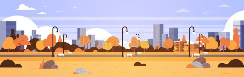 Jesień koloru żółtego parka outdoors miasta budynków latarni ulicznych pejzażu miejskiego miastowego pojęcia sztandaru horyzontal ilustracji