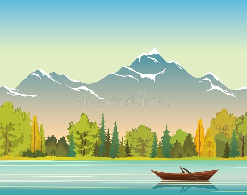 Jesień krajobraz łódź, jezioro, las i góry -, miłość pardwy piosenka dziki drewna natury ilustracji
