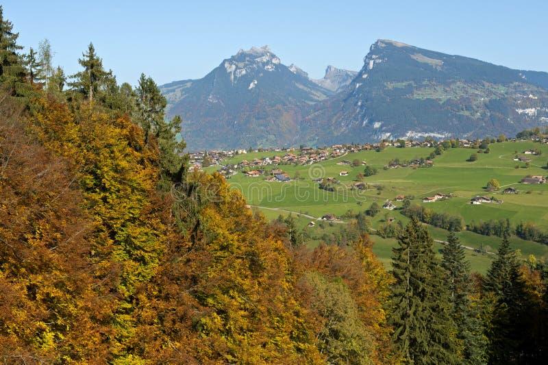 Jesień krajobraz, Szwajcarscy Alps, Szwajcaria zdjęcie royalty free