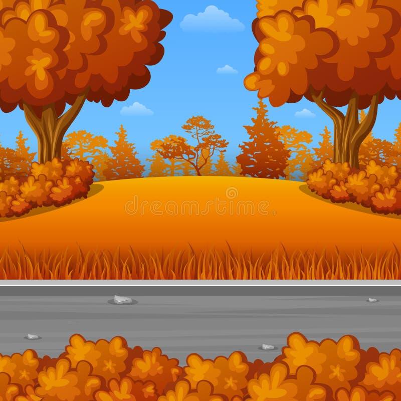 Jesień krajobraz z drogą ilustracja wektor