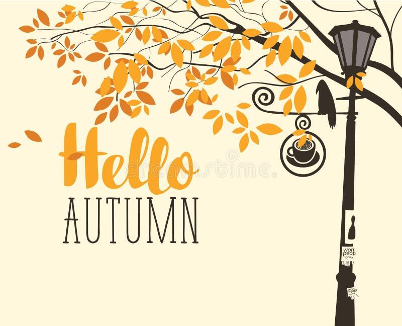 Jesień krajobraz z drzewem, wroną i latarnią, royalty ilustracja