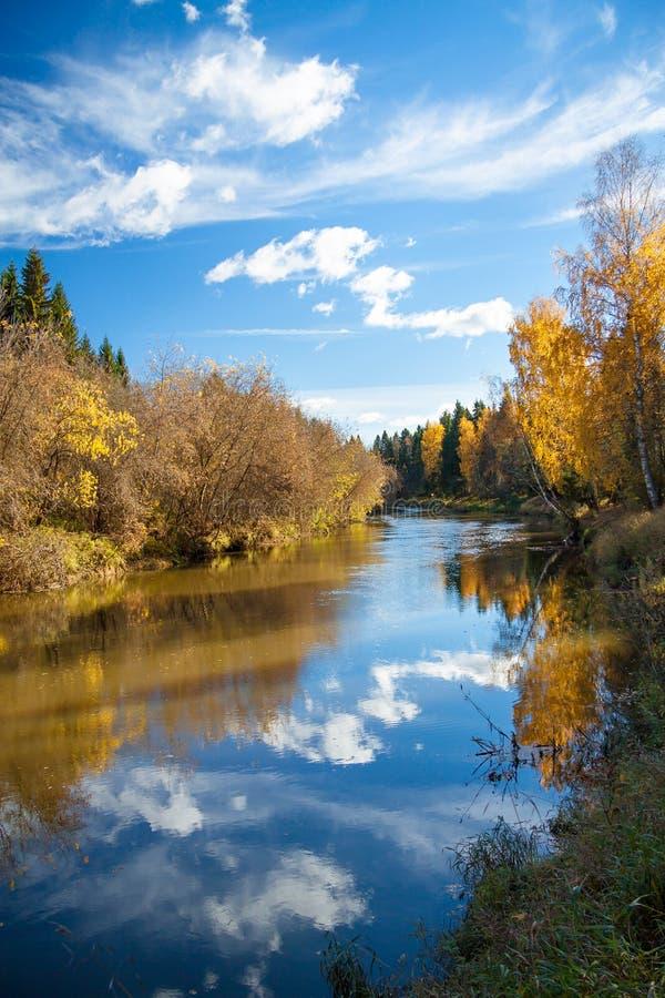 Jesień krajobraz z rzeką lasem i niebieskim niebem, zdjęcia stock