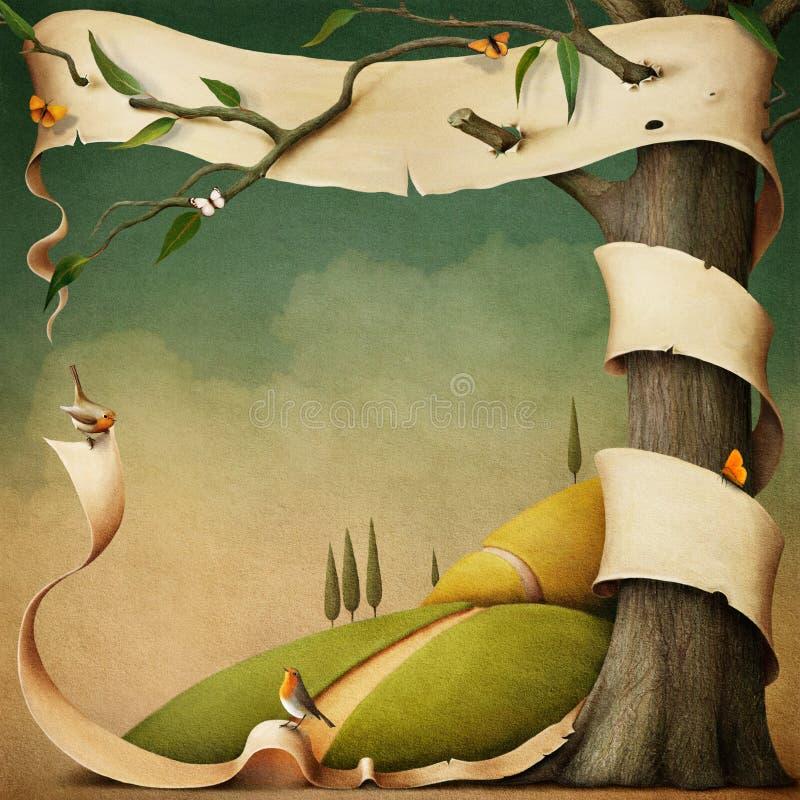 Jesień krajobraz z sztandarem. ilustracja wektor