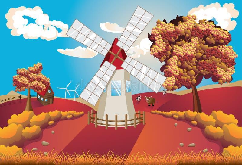 Jesień krajobraz z wiatraczkiem ilustracja wektor