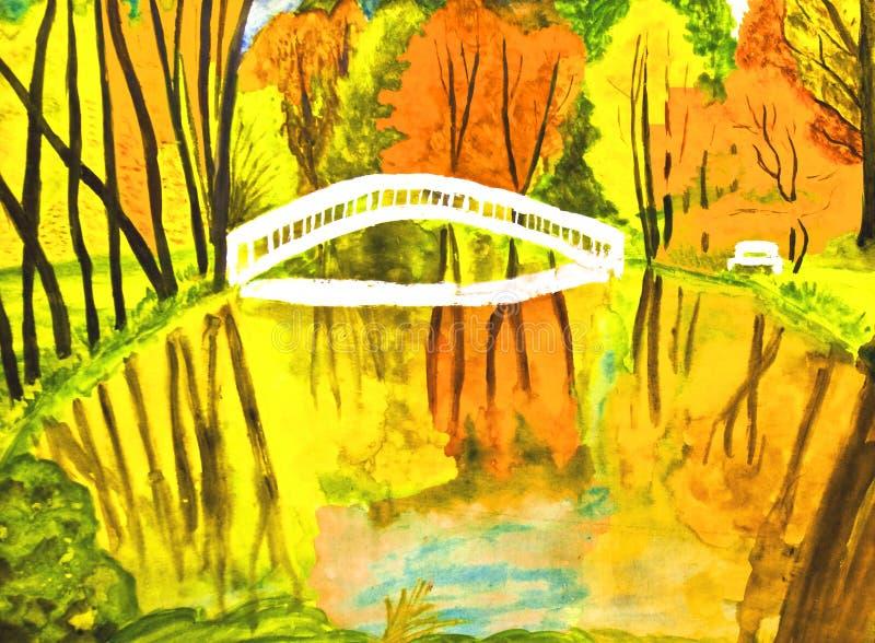 jesień krajobrazowi obrazu watercolours ilustracja wektor