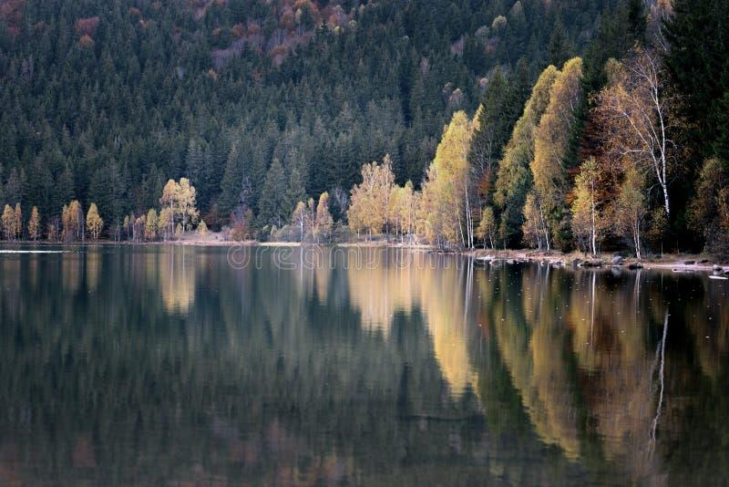 jesień krajobrazowy gór wschód słońca w kontekście niebieskie chmury odpowiadają trawy zielone niebo białe wispy natury zdjęcia stock