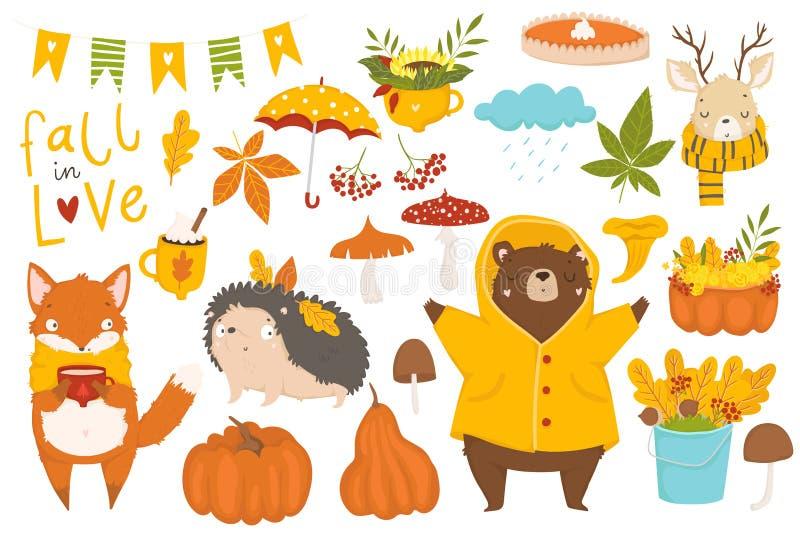 Jesień kwiecisty bezszwowy wzór w doodle stylu royalty ilustracja