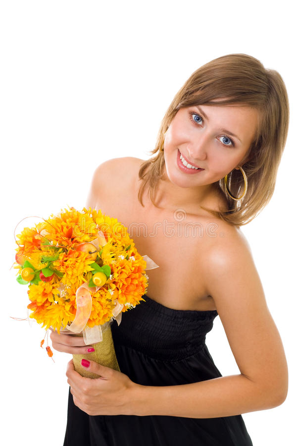 jesień kwitnie kobiety obraz stock
